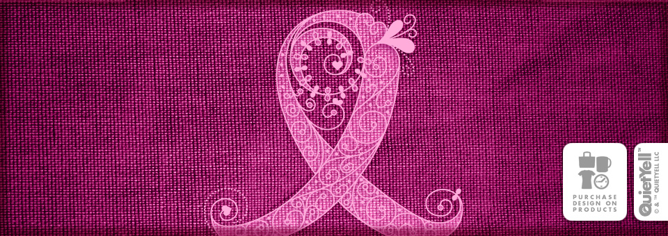 QuietYell™ Featured Product Design: Curly Ribbon (Breast Cancer Awareness) 01 - Visit www.QuietYell.com and Find QuietYell on CafePress & Zazzle