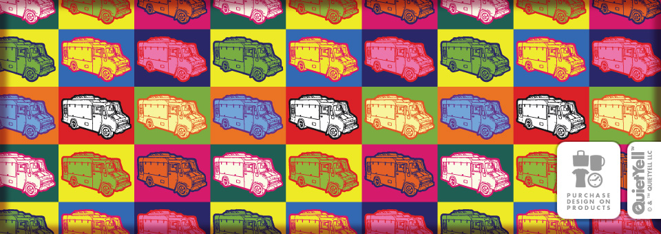 QuietYell™ Featured Product Design: Food Truck Pop Art 01 - Just in time for The Great Food Truck Race by Tyler Florence on Food Network - Visit www.QuietYell.com and Find QuietYell on CafePress & Zazzle