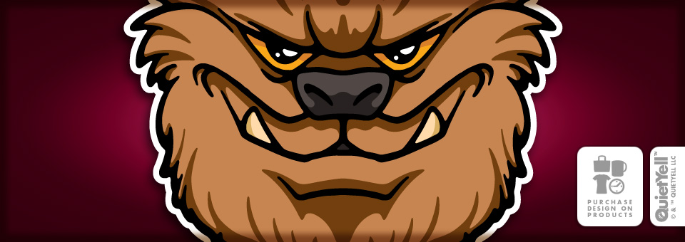 QuietYell™ Featured Product Design: The Monsters, The Werewolf (Brown) 01 - Visit www.QuietYell.com and Find QuietYell on CafePress & Zazzle