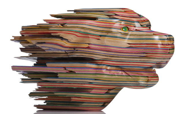 Used Skateboard Decks Recycled as Art (Dog Sculpture) by Gary Haroshi