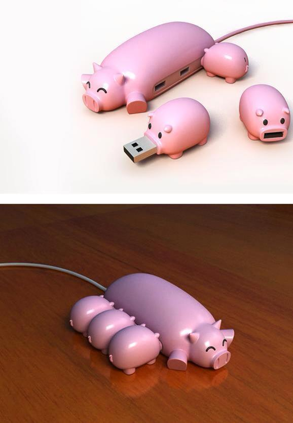 USB Hub Momma Pig and USB Thumbdrive Piglets