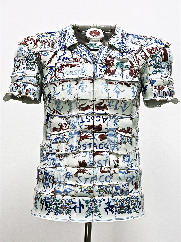 Blue and White Chinese Porcelain Lacoste Polo by Li Xiaofeng