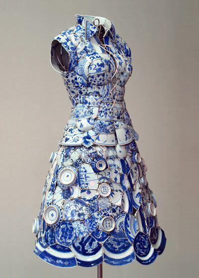 Blue and White Chinese Porcelain Dress by Li Xiaofeng