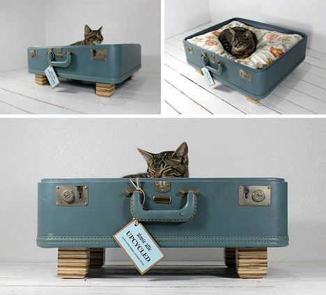 Upcycled Suitcase Pet Bed Handmade Wood Legs by Atomic Attic