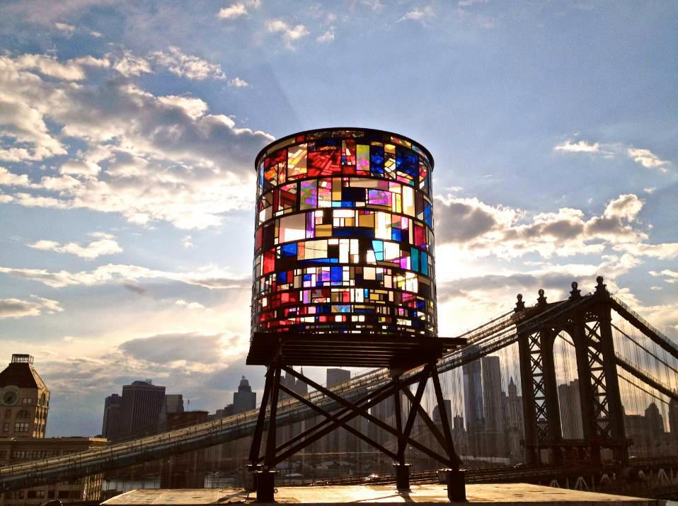 Stained Glass Watertower by Tom Fruin Stu­dio