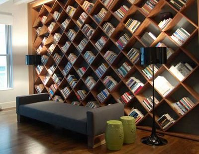 Angled Bookcase Wall