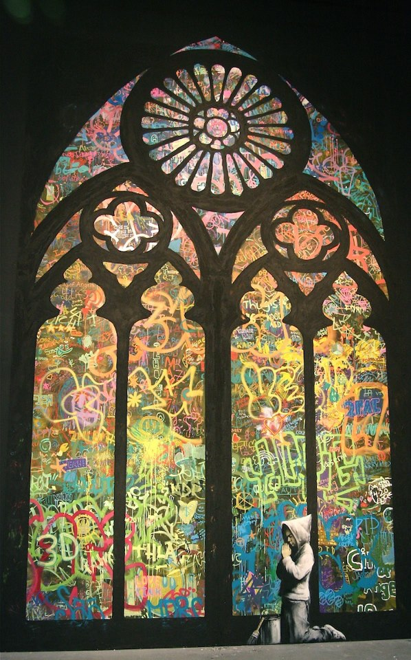 Banksy Graffiti Stained Glass