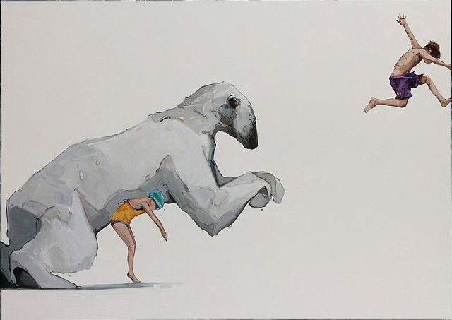 Paintings of Young Children Bonding with Playful Animals