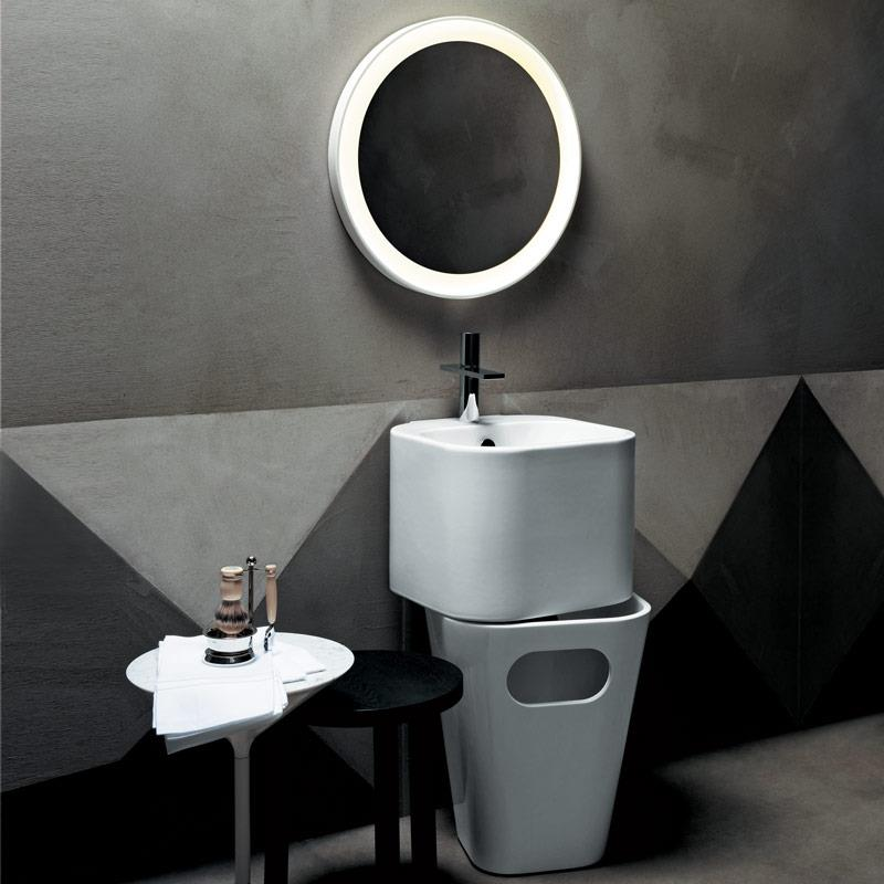 Wall-Hung Basin and Mobile Waste Basket by Paul Ulian