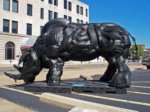 Recycled Tire Rhinoceros Sculpture