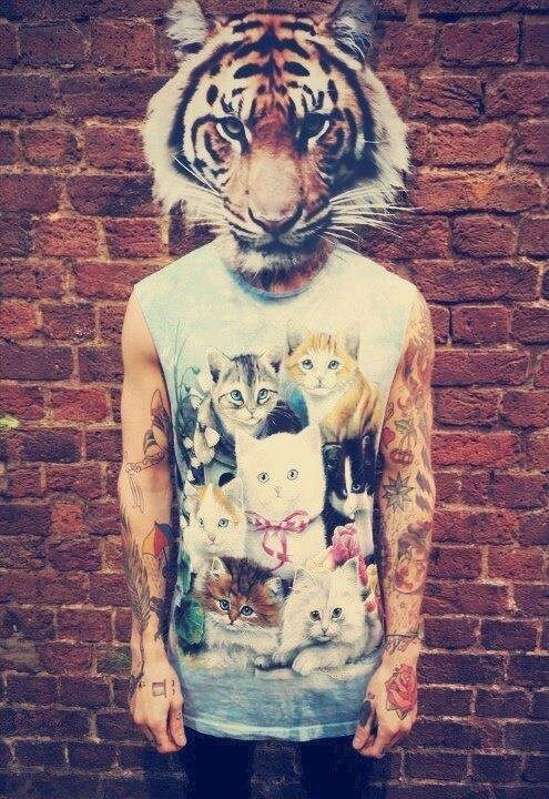 Tiger-Man with Kitty Shirt