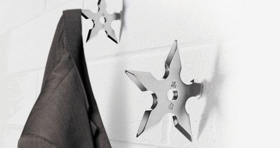 Shuriken Throwing Ninja Star Coat Hooks