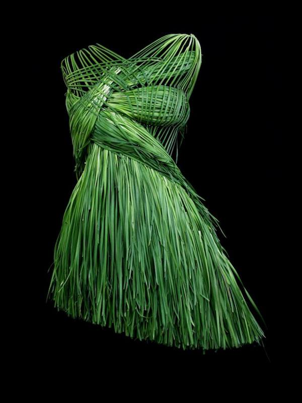 Wearable Food Dress (Chives) by Korean Artist Yeonju Sung
