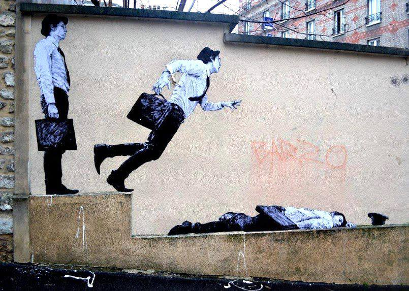 Street Art from Levalet At Butte aux Cailles