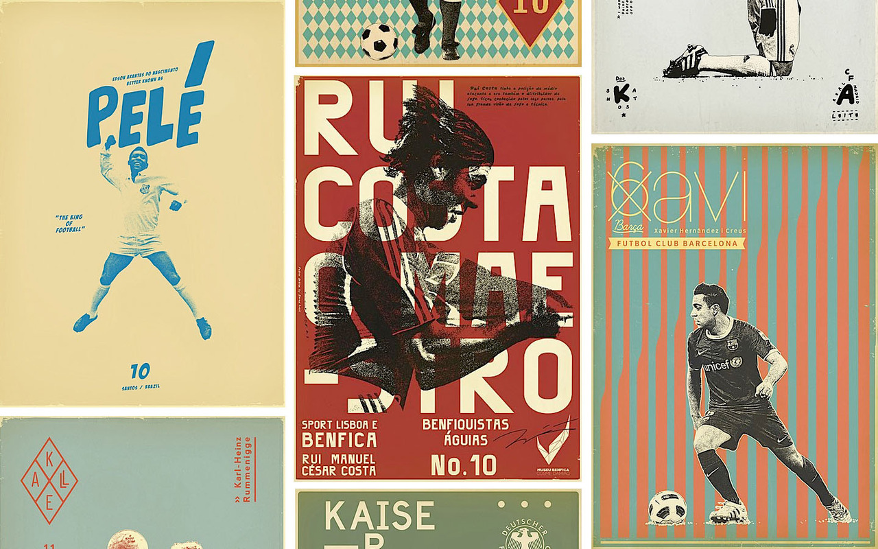 Retro Soccer Player Posters by Zoran Lucić