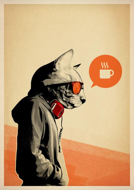 Hipster Cat Coffee Time