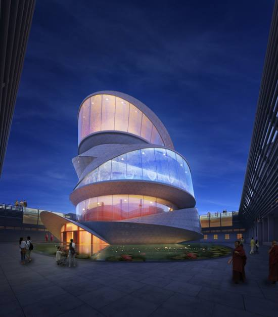 Buddhism Temple Based on a Mobius Strip by Miliy Design