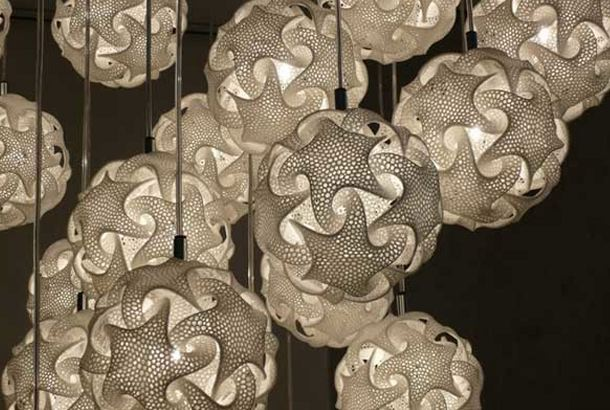 3D Printed Geometric Lamp Shade by Bathsheba Sculpture and MGX