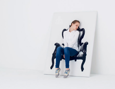 """Canvas Chairs: 2D Fabric """"Paintings"""" Hide Real 3D Seats by Studio YOY"""