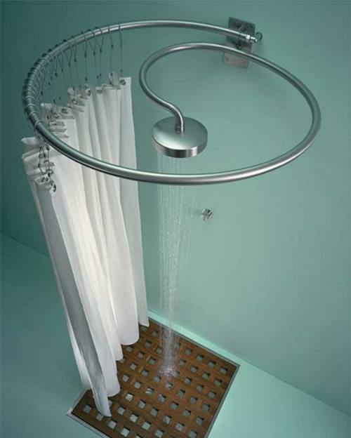 Spiral Shower Head & Curtain Rail