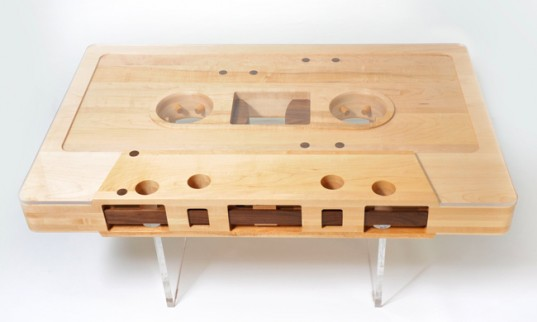 Mix­tape Table Made of Reclaimed Wood by Jeff Skier­ka