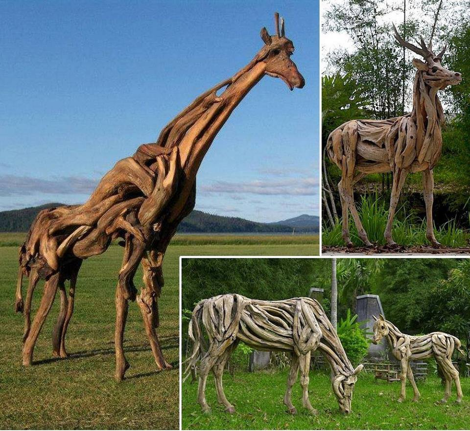 Animal Sculptures Made With Driftwood