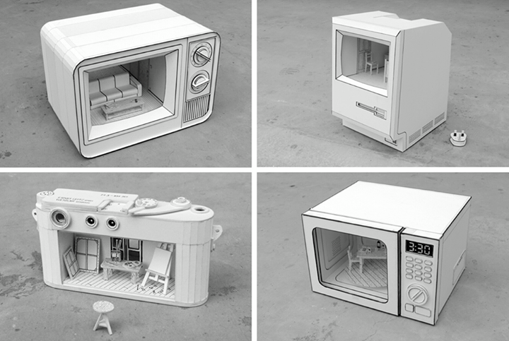 Dioramas Inside Paper Sculptures of Electronics by Kevin LCK