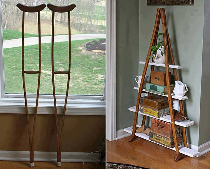 DIY Bookshelves From Crutches