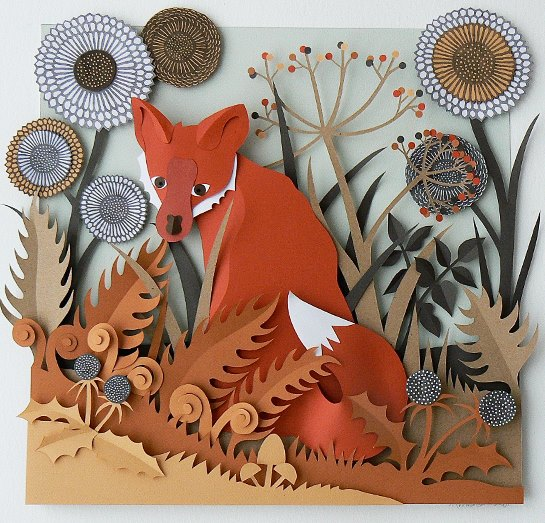 Paper Fox Sculpture by Helen Musselwhite