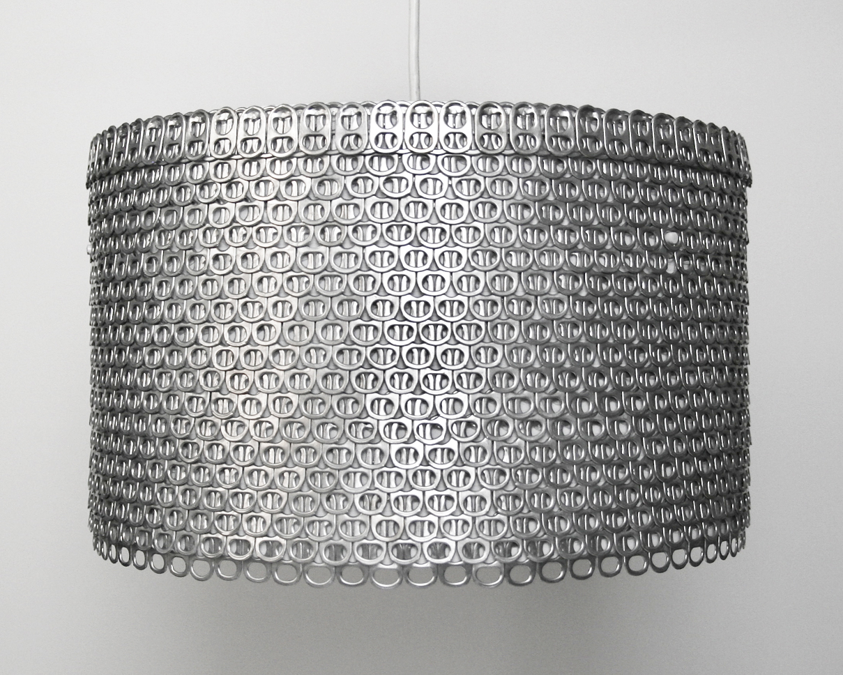 DIY Large Drum Lamp Shade Made of Soda Can Tabs