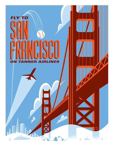 Fly With Tanner Airlines Travel Posters by Eric Tan