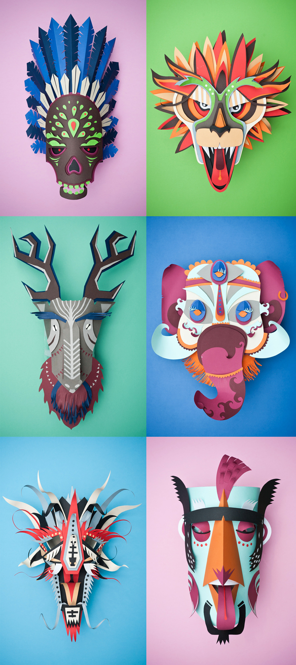 """Graphical Carnaval"" Papercraft Masks by INK studio"
