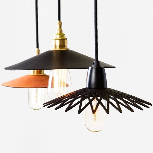 """""""Hide,"""" Moulded Leather Pendant Lamps by Ben Wahrlich for AN/Aesthetic"""