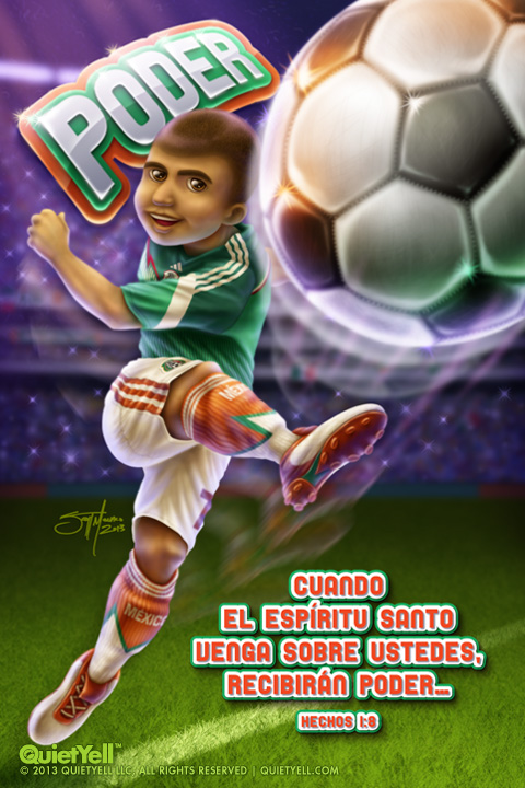 QuietYell™ Portfolio Artwork: Rio Bravo Soccer Boy Illustration - Visit www.QuietYell.com and Find QuietYell on CafePress and Zazzle