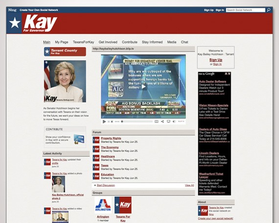 Kay Bailey Hutchison Social Networks