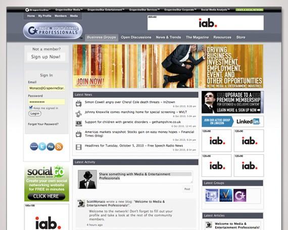 Media & Entertainment Pros Social Network