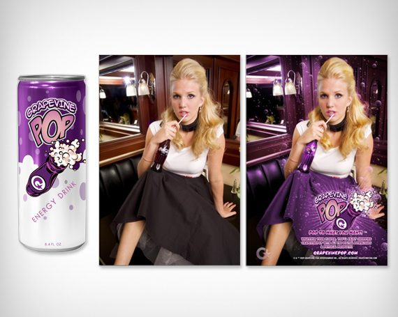 GrapevinePop Can, Photo Manipulation, and Ad