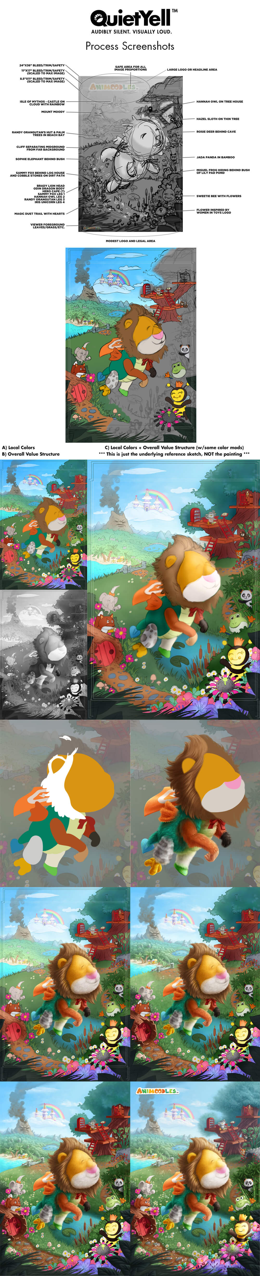 QuietYell / Scott Monaco's illustration process screenshots for Animoodles Celebration Poster (Animoodles are interchangeable plush toys by Marissa Louie)