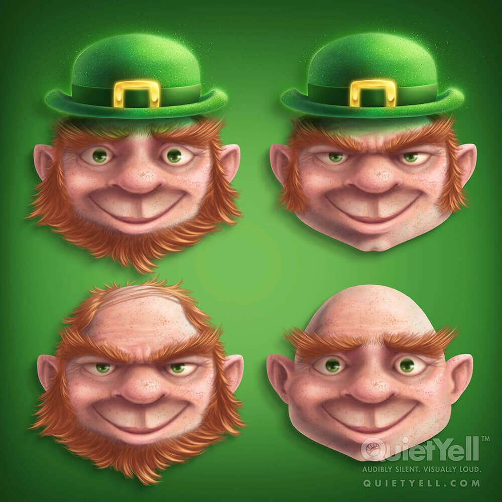 QuietYell Presents Scott Monaco's St. Patrick's Day (Leprechaun) Game Assets For Cataboom, All Rights Reserved