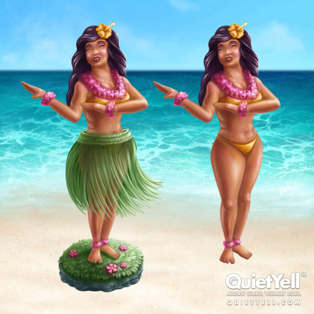 QuietYell Presents Scott Monaco's Tropical Summer (Hawaiian Bobbling Dashboard Hula Girl) Game Assets For Cataboom, All Rights Reserved | QuietYell.com and CataBoom.com