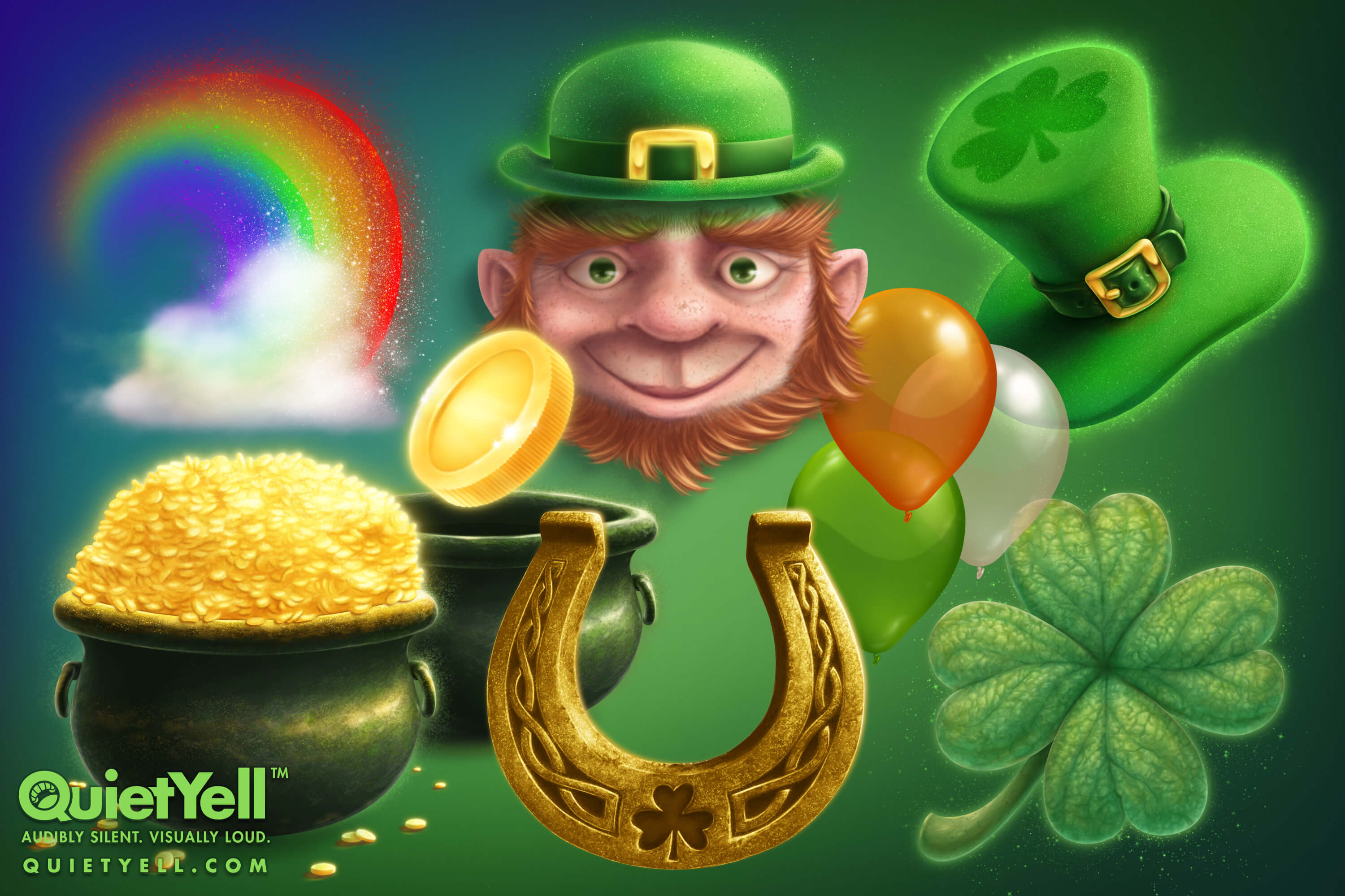 QuietYell Presents Scott Monaco's St. Patrick's Day Game Assets For Cataboom, All Rights Reserved