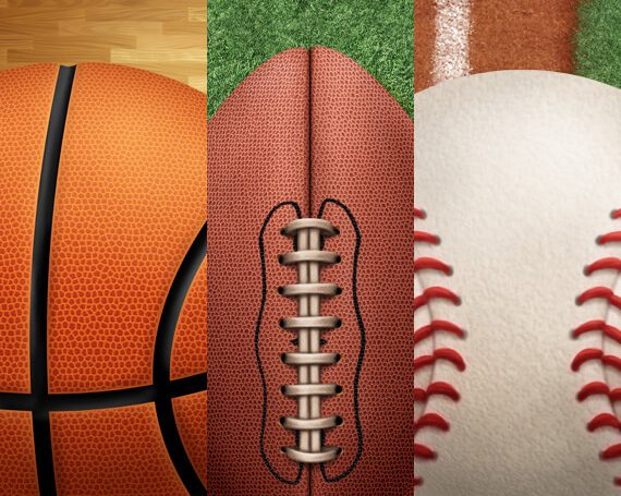 Basketball, Football, and Baseball Sports Assets