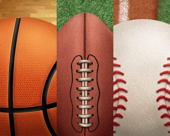 Basketball, Football, and Baseball Sports Assets