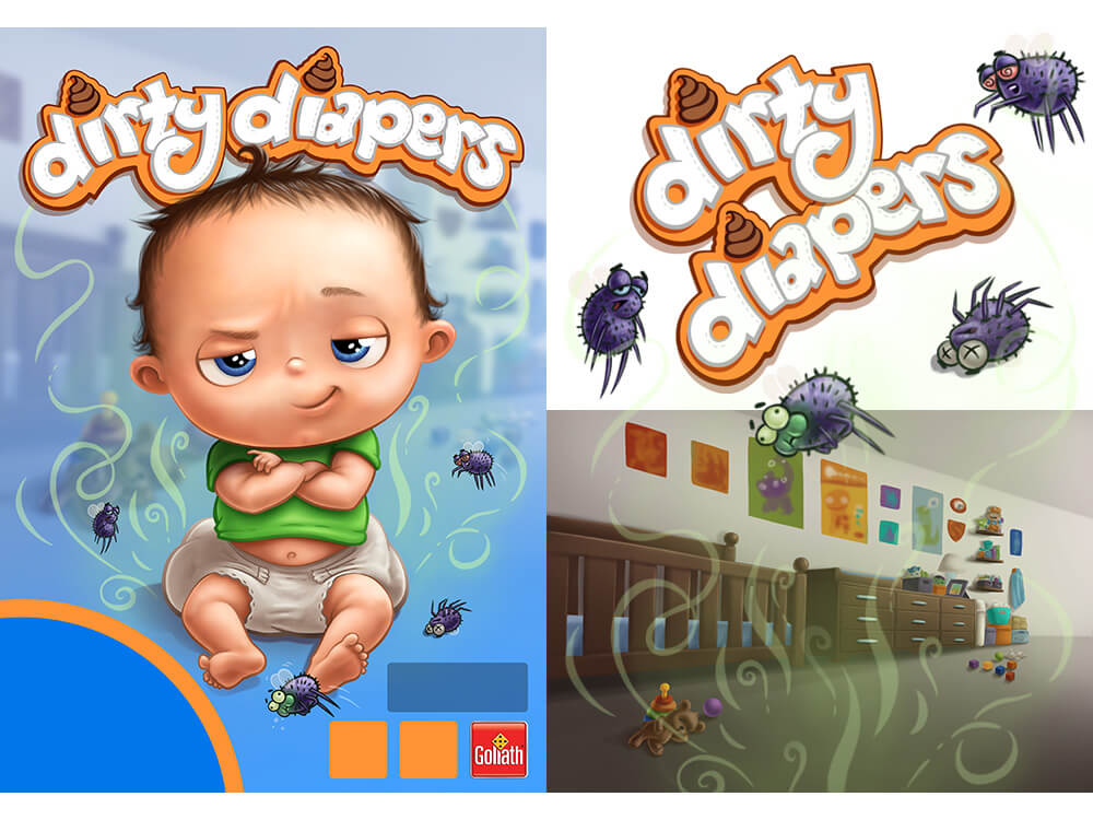 Goliath Games Dirty Diapers Game Packaging Illustration and Logo by Scott Monaco of QuietYell™ : www.QuietYell.com | www.GoliathGames.us