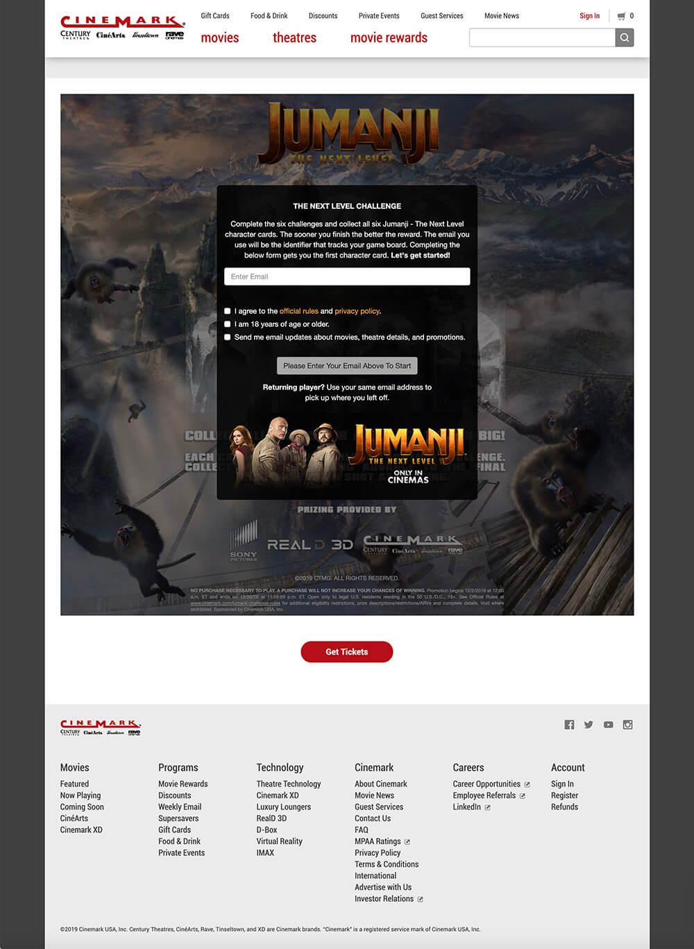 """""""Jumanji : The Next Level"""" Promotional Collect-And-Win CataBoom Games for Cinemark by Scott Monaco of QuietYell™ 