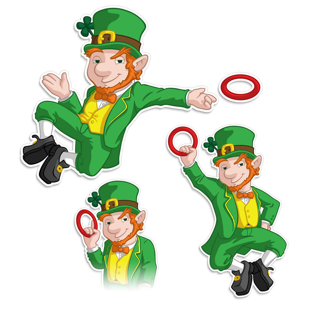 Leprechaun Character Spot Illustrations for Funsparks Hook It Activity Board Game by Scott Monaco of QuietYell™ | www.QuietYell.com | www.Funsparks.com
