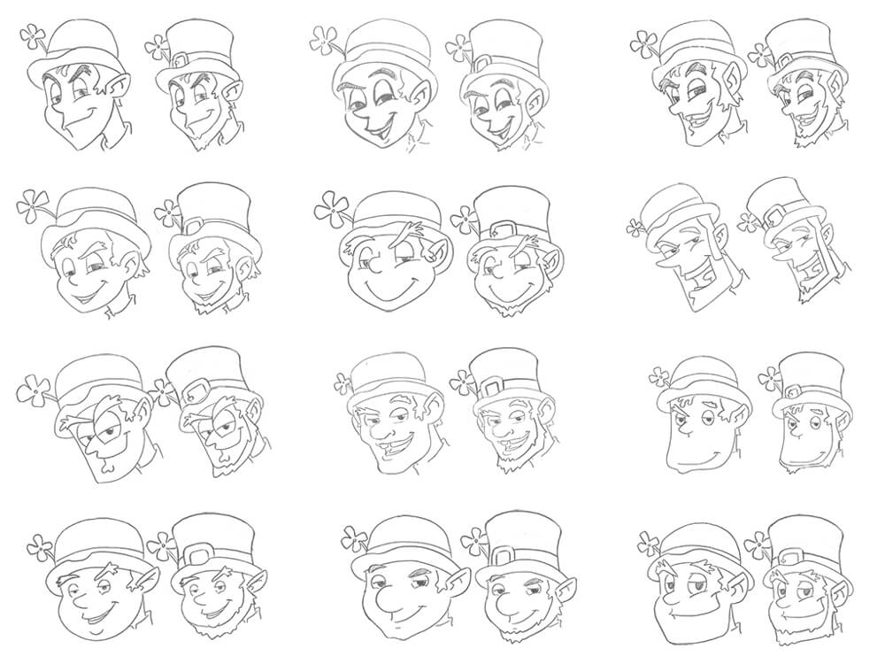 Leprechaun Character Head Sketches for Funsparks Hook It Activity Board Game by Scott Monaco of QuietYell™ | www.QuietYell.com | www.Funsparks.com