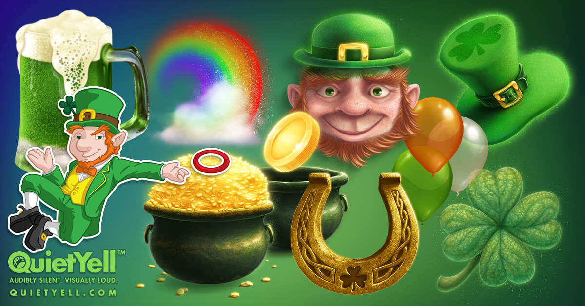 Leprechauns, Pots of Gold at the Ends of Rainbows, Four Leaf Clovers, Horseshoes, and other St. Patrick's Day and Irish Illustrations by Scott Monaco of QuietYell™ | www.QuietYell.com