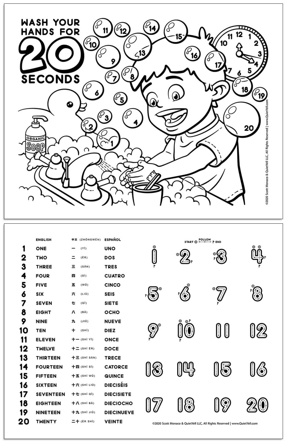 Coloring Activity Sheet to Learn About Washing Hands For 20-Seconds (Emphasized During the COVID-19 Pandemic Quarantine) and Learning Numbers in English, Chinese, and Spanish by Scott Monaco of QuietYell LLC | www.QuietYell.com