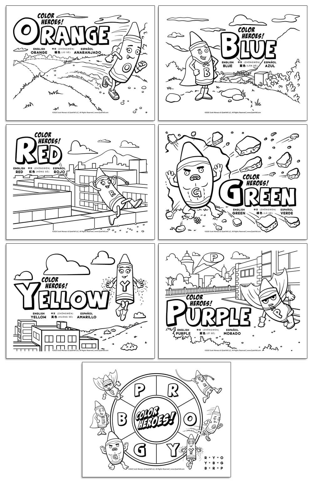 Coloring Activity Sheet to Learn Colors in English, Chinese, and Spanish by Scott Monaco of QuietYell LLC | www.QuietYell.com